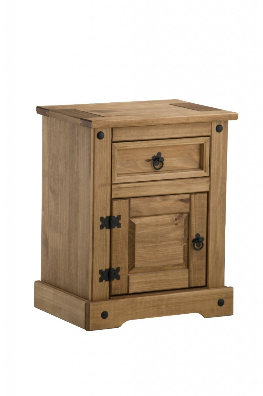 Birlea corona solid pine 1 drawer 1 door bedside cabinet for Door furniture uk