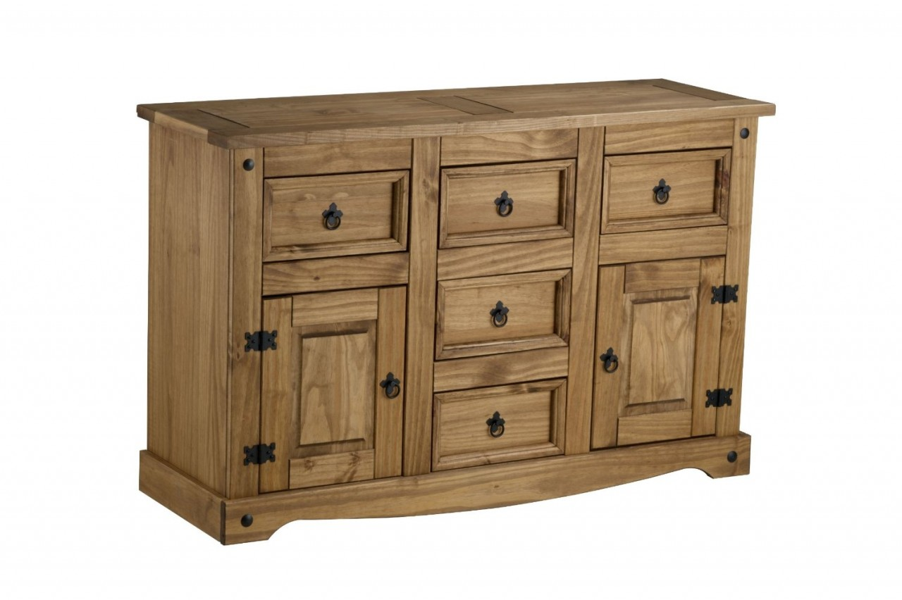Birlea Corona Solid Pine 2 Door 5 Drawer Sideboard