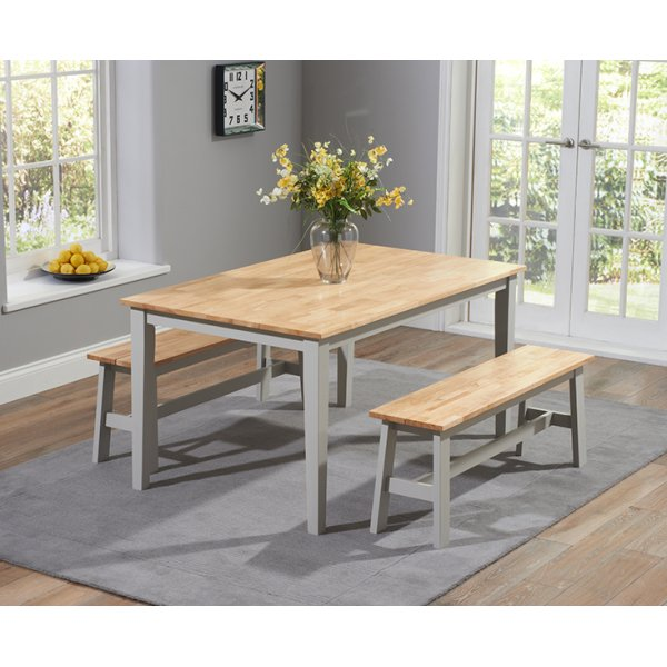 Chichester 150 cm Oak with Grey Dining Table with 2 Large Benches