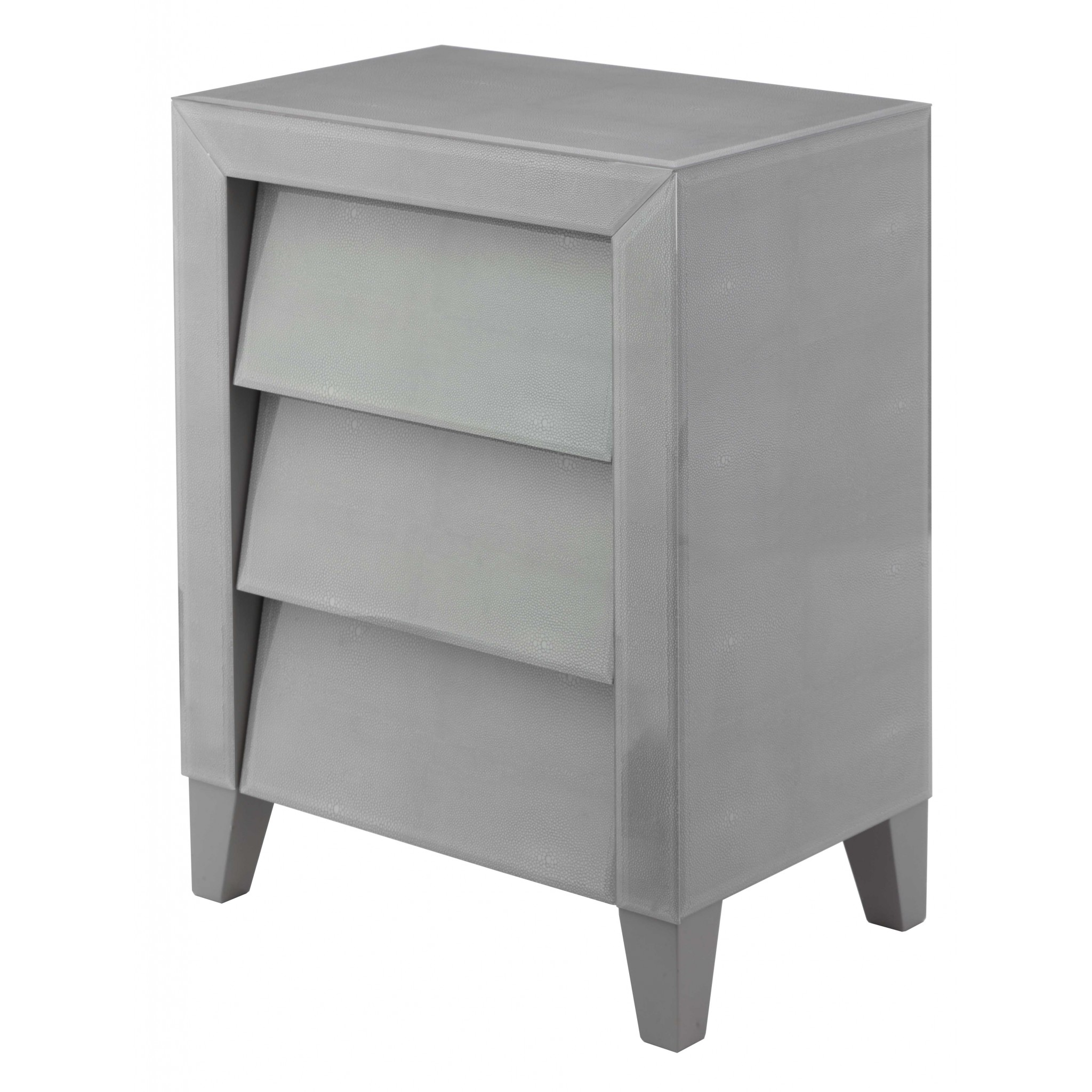 RV Astley Colby Soft Grey Shagreen 3 Drawer Side Table