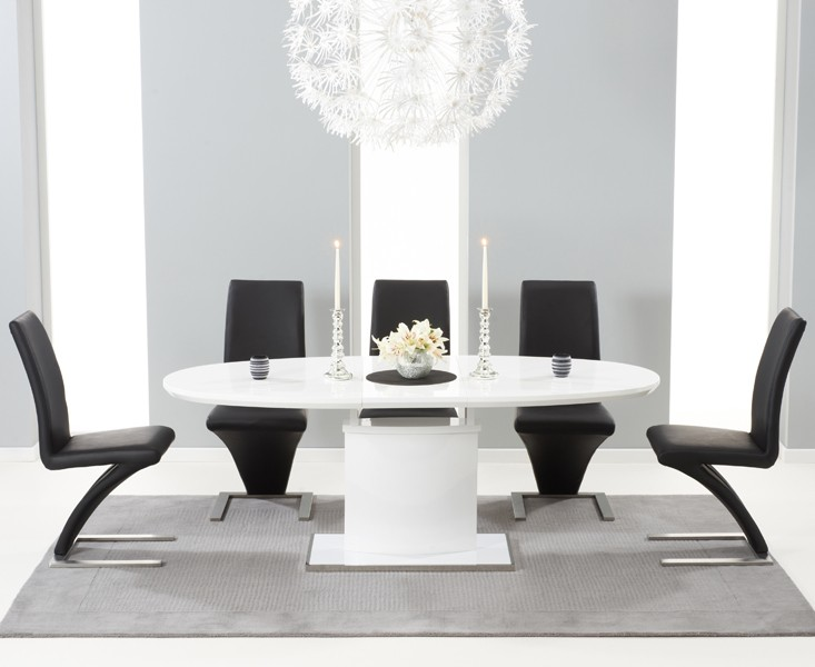 Seville 160 MDF High Gloss Extending Dining Table With 6