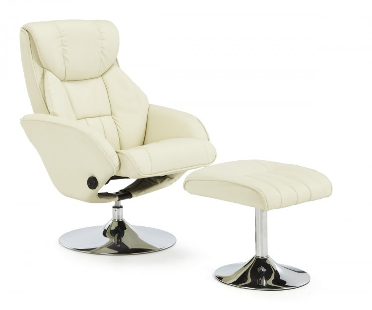 Serene Larvik Cream Leather Swivel Recliner Chair