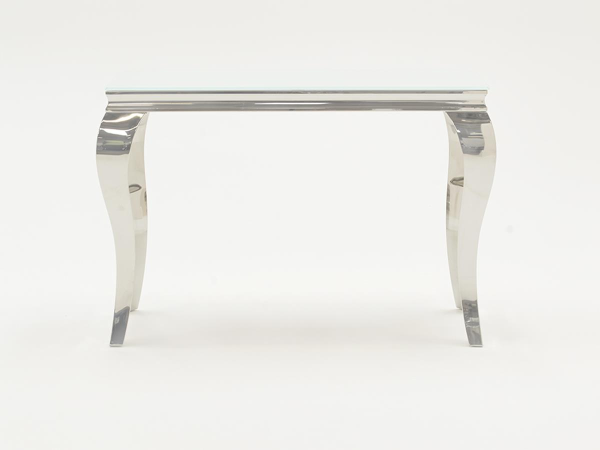 Louis White Tempered Glass Console Table
