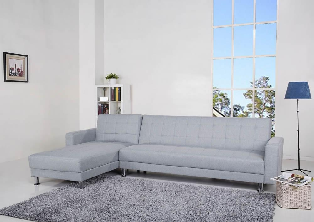 Spencer Pearl Fabric Corner Sofa Bed with Interchanging Chaise