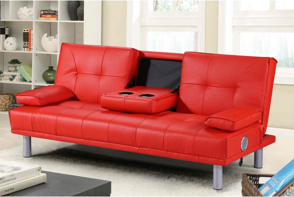 Photo of Miami red leather bluetooth sofa bed