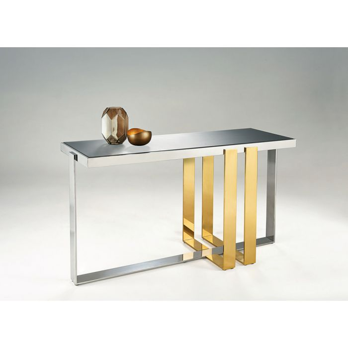 Chelsom Vanderbilt Rectangular Grey Frosted Glass Console Table