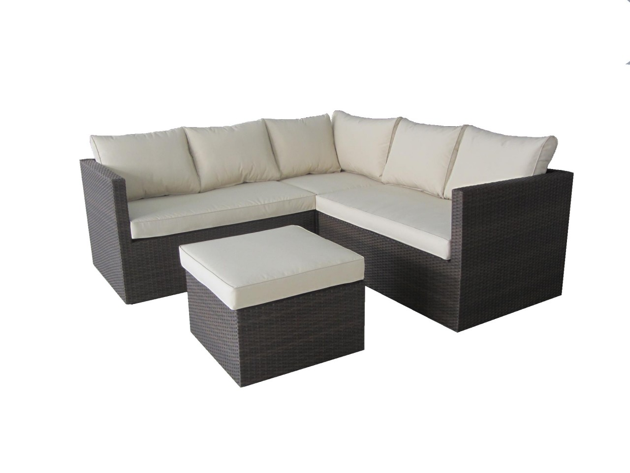 Cannes 4 Pc Rattan Corner Sofa Set with Footstool Coffee Table Brown