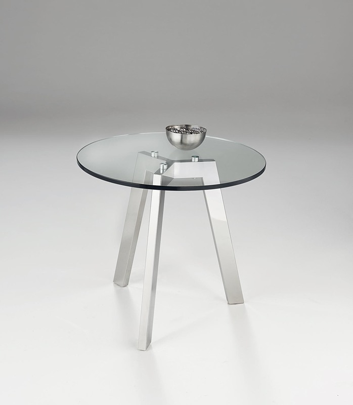 Chelsom Otto Round Chrome Clear Glass Lamp Table