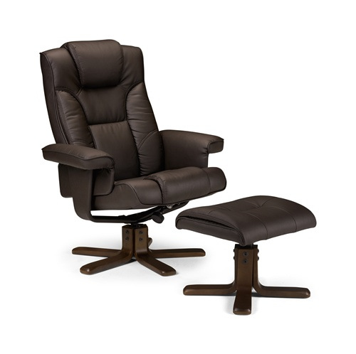 Photo of Julian bowen malmo brown leather recliner chair + stool