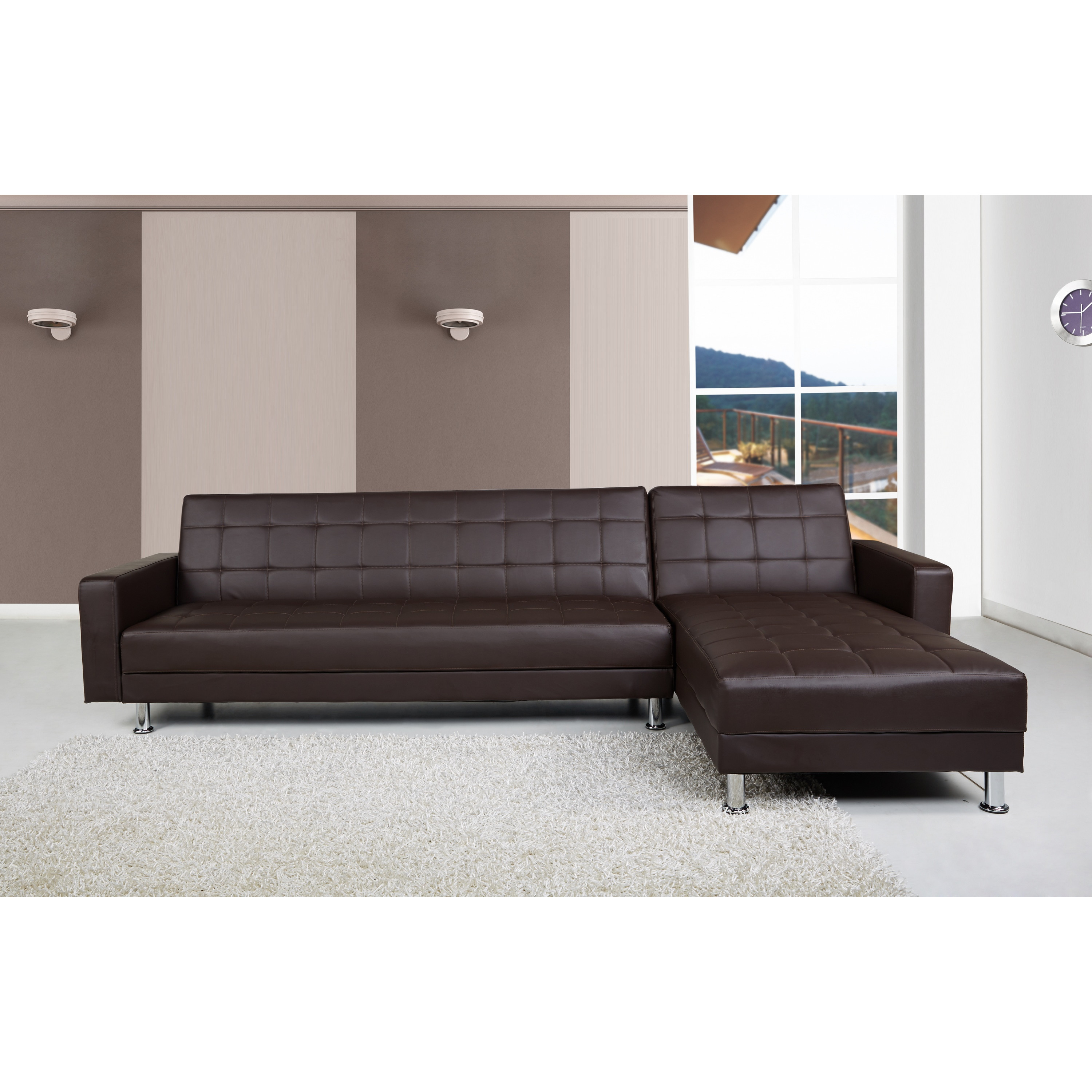 Photo of Spencer brown faux leather corner sofa bed with interchanging chaise