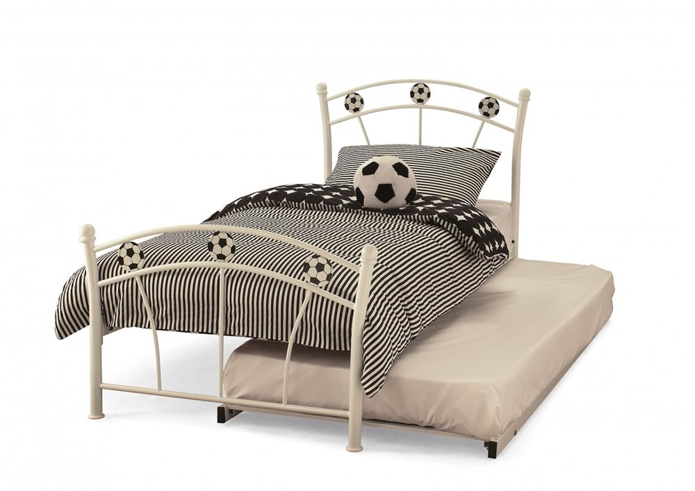 Serene Soccer 2ft6 Small Single White Gloss Metal Guest Bed