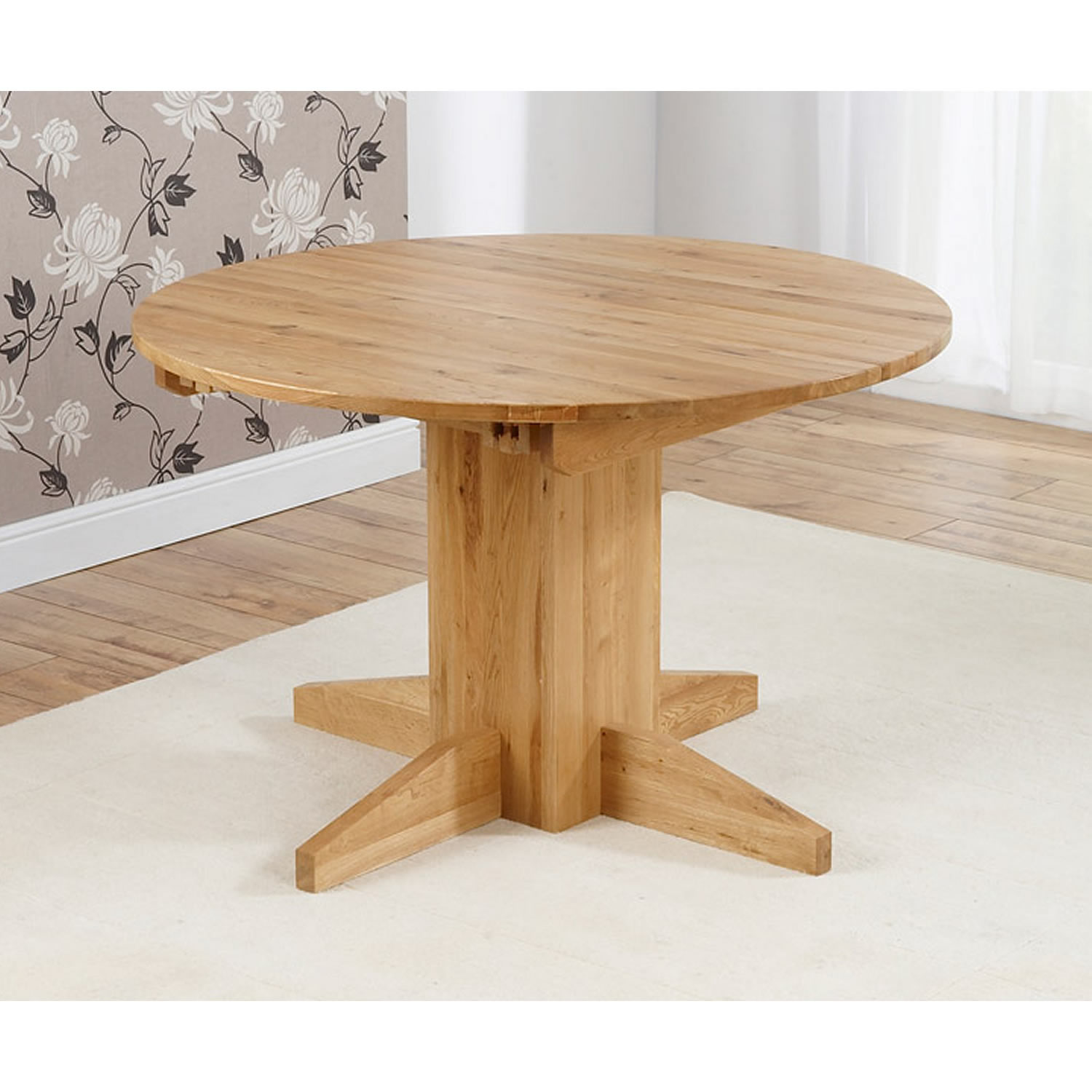 Monte Carlo Round Solid Oak Dining Table Extends to 160 cm