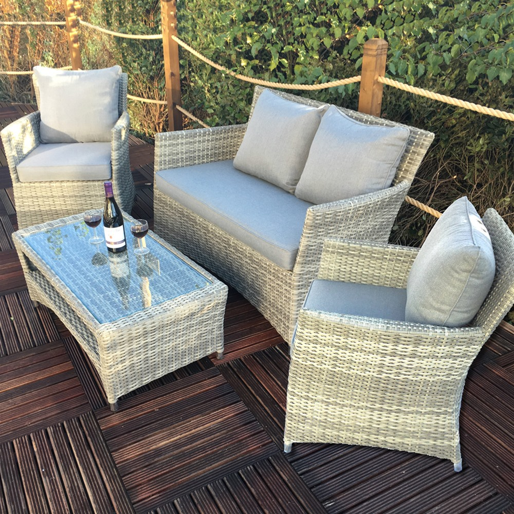 Royalcraft Windsor 4pc 2 Seater Rattan Classic Sofa Set With Coffee Table