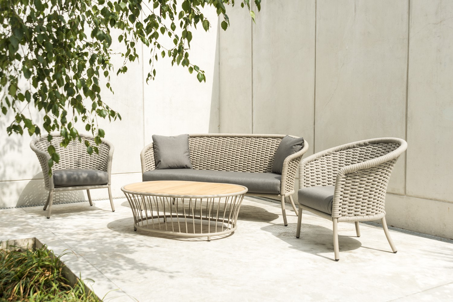 Alexander Rose Cordial Beige Rope Roble 3 Seat Lounge Set