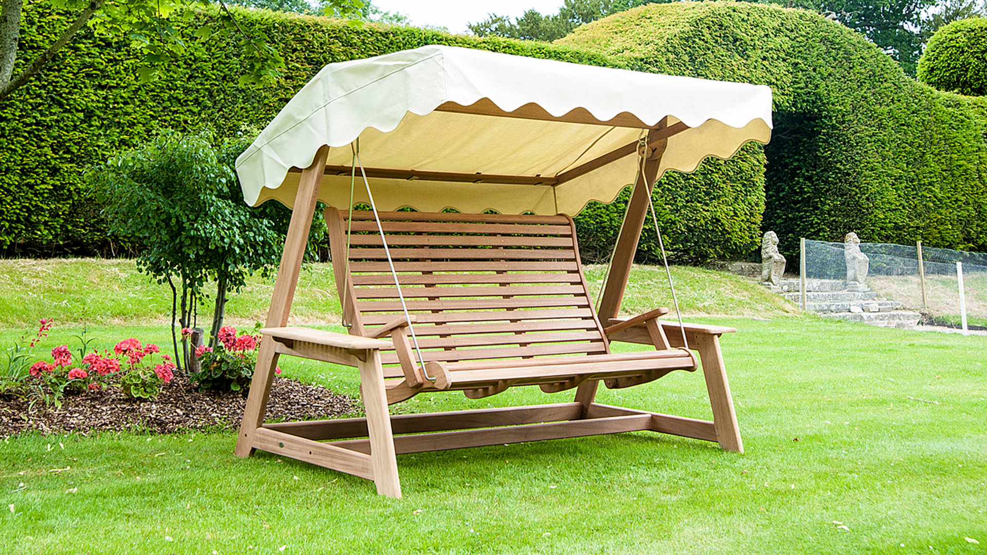 Alexander Rose Mahogany Swing Seat with Canopy (Green, Ecru)