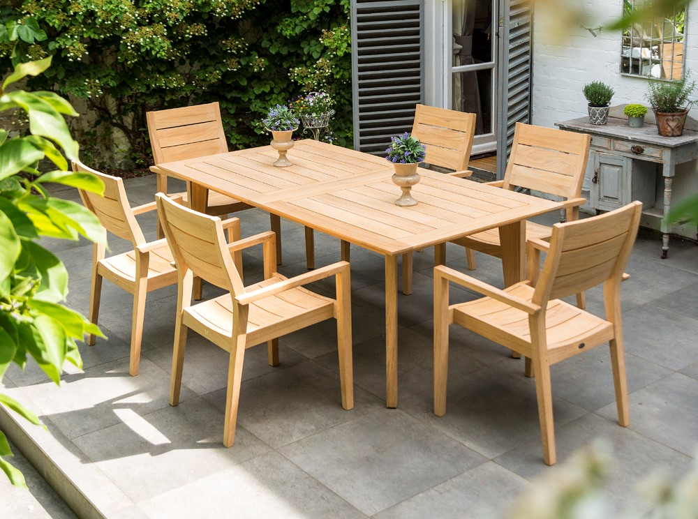 Alexander Rose Roble Ext. 6 Seat High Back Stacking Dining Set