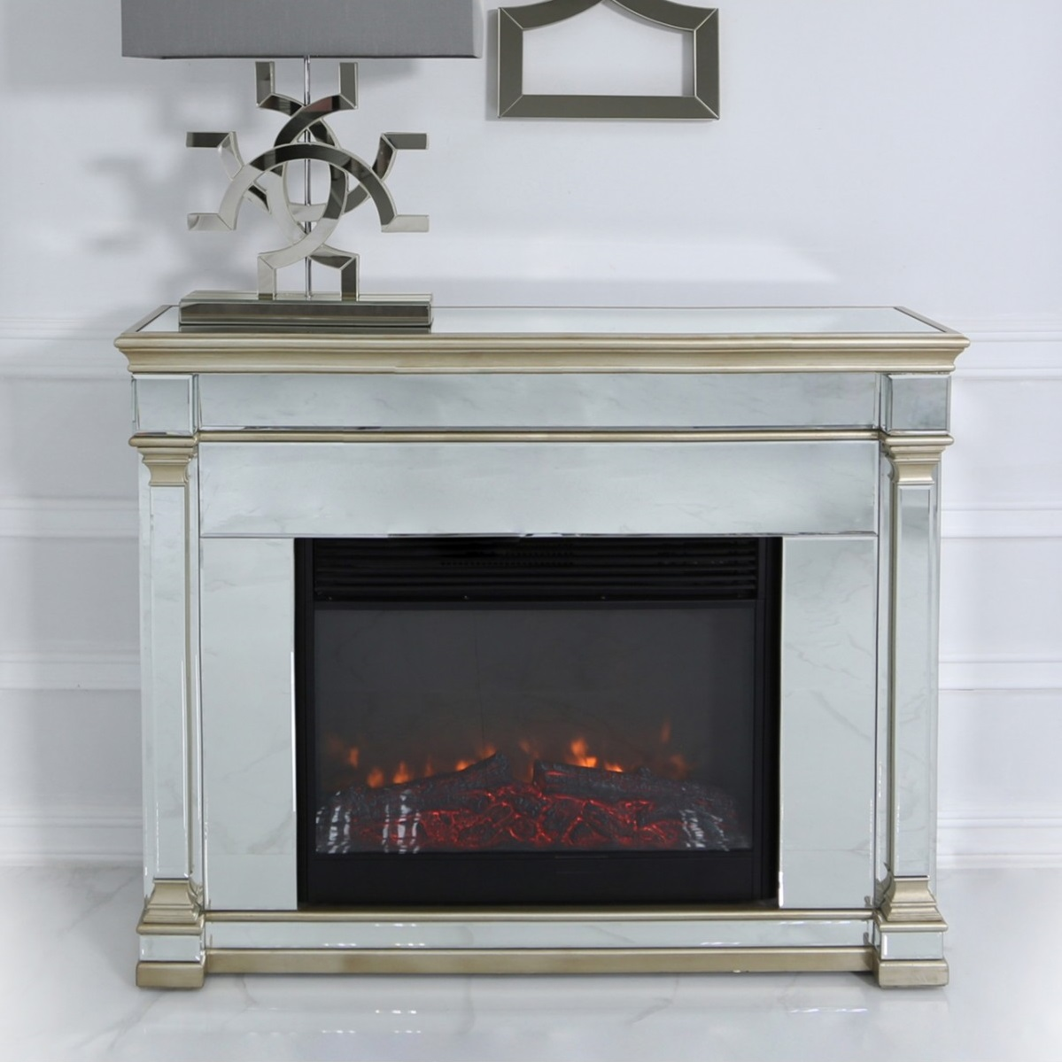 Alpha Champagne Mirrored Fire Surround With Electric Fire Insert