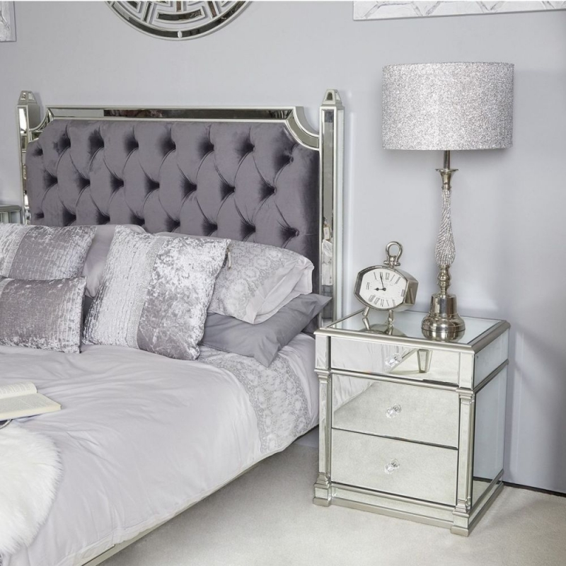 Alpha Silver Mirrored Bedside Cabinet