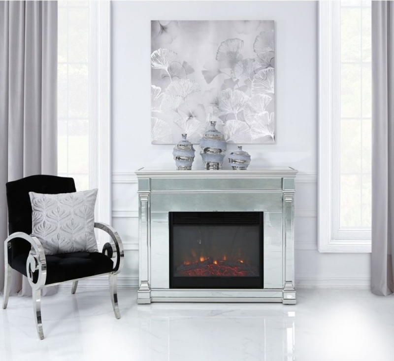 Alpha Silver Mirroreded Fire Surround With Electric Fire Insert