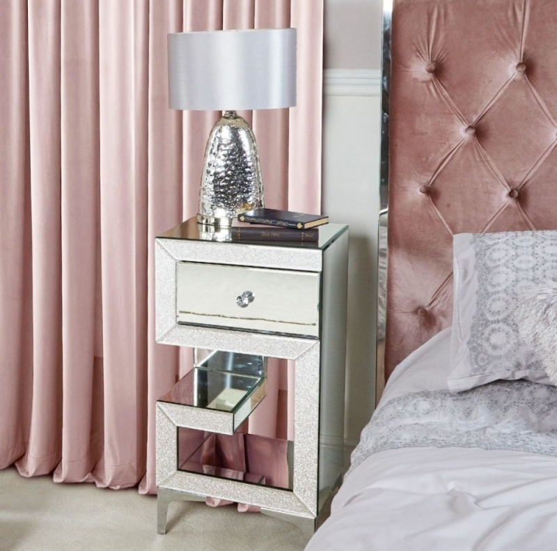 Aria 1 Drawer Right Facing Mirrored Bedside Cabinet