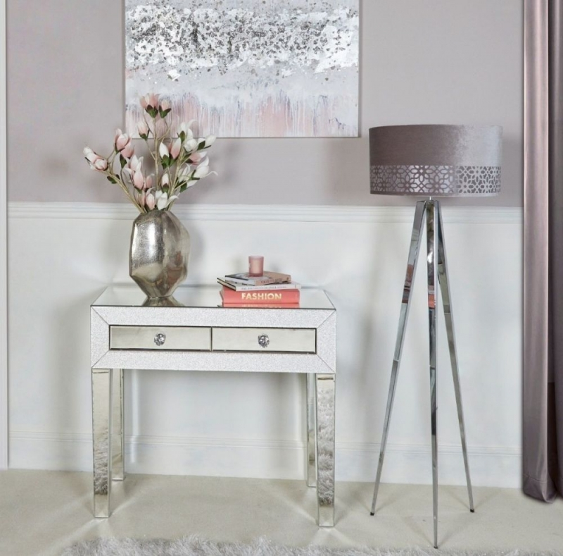 Aria 2 Drawer Mirrored Console Table 335 13 Go Furniture Co Uk