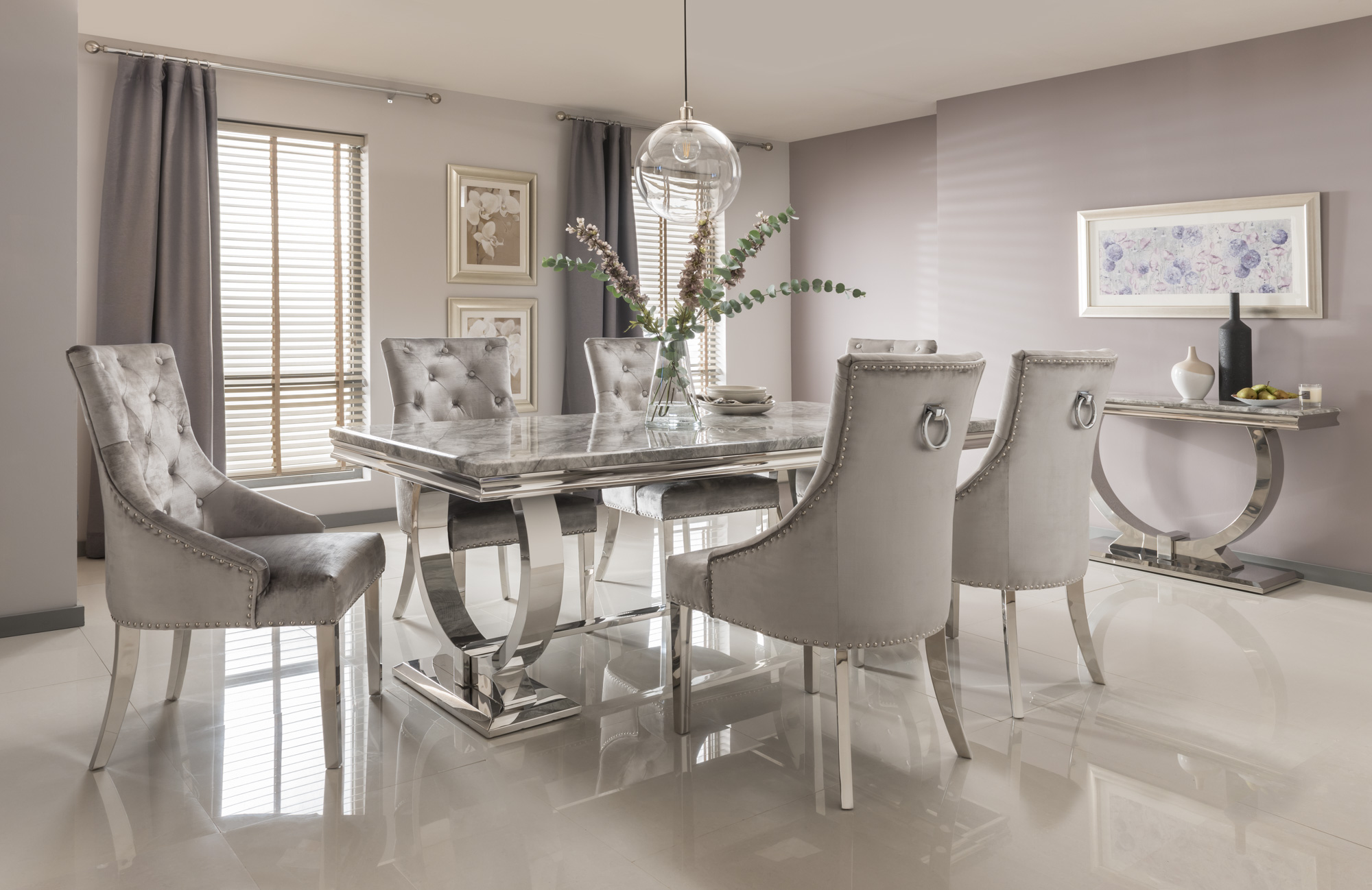 Arianna 200cm Grey Marble Dining Table And 6 Belvedere Silver Velvet Chairs