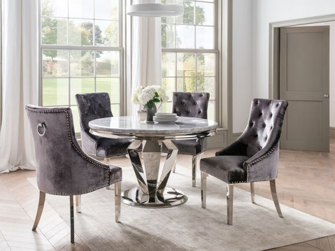 Arturo 130cm Round Grey Marble Dining Table and 4 Belvedere Charcoal Velvet Chairs
