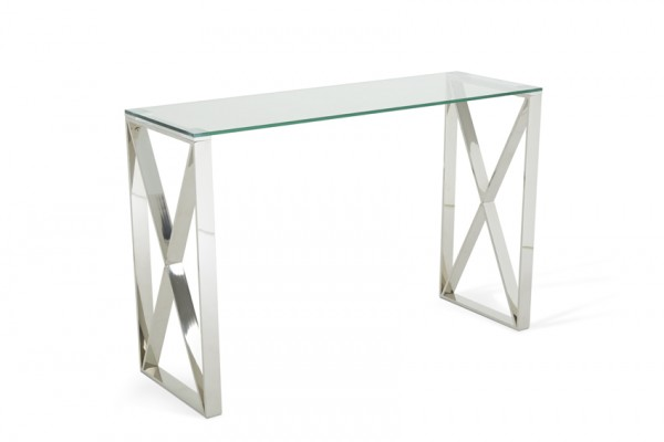 Serene Astra Glass Top Stainless Steel Console Table