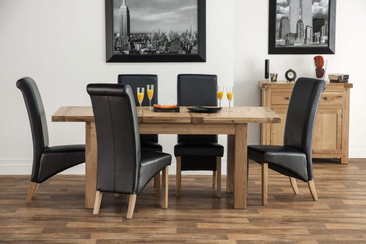 Belgravia 1.2m Oak Dining Table with 4 Henley Dark Brown Leather Chairs
