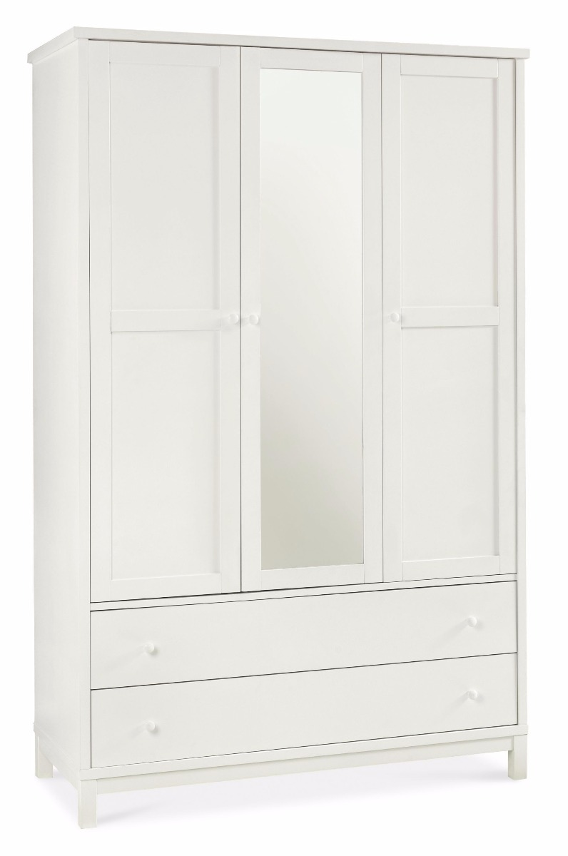 Photo of Bentley designs atlanta white triple wardrobe with 2 drawers