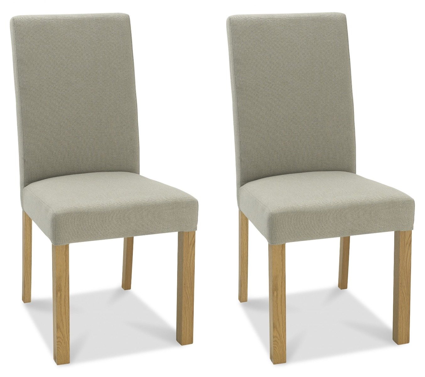 Bentley Designs Parker Light Oak Square Back Silver Grey Fabric Dining Chair