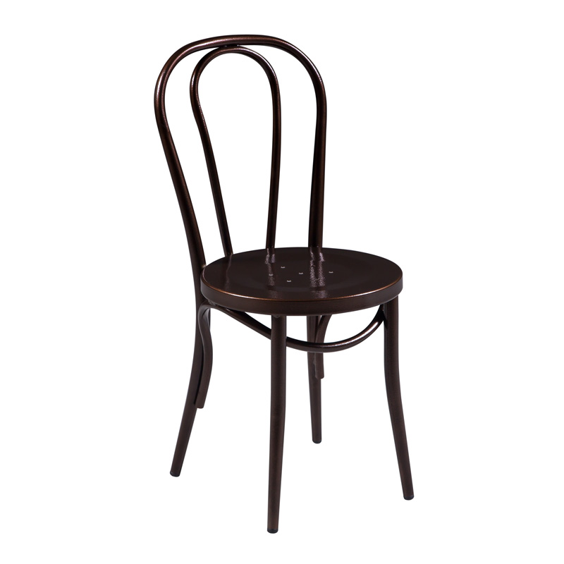 Bentwood Style Dark Copper Metal Dining Chair
