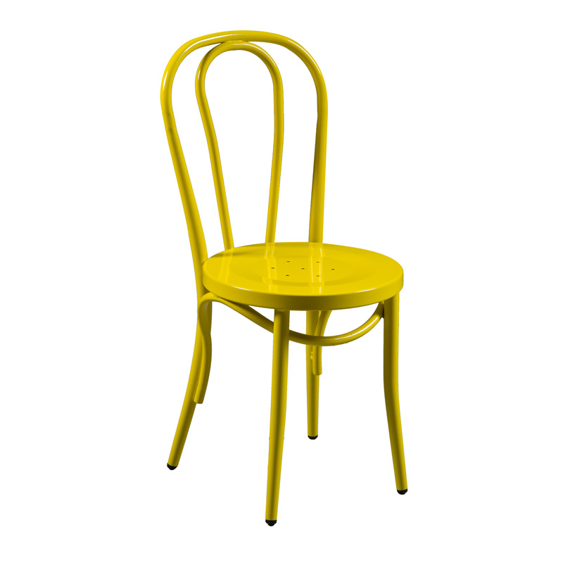 Bentwood Style Yellow Metal Dining Chair