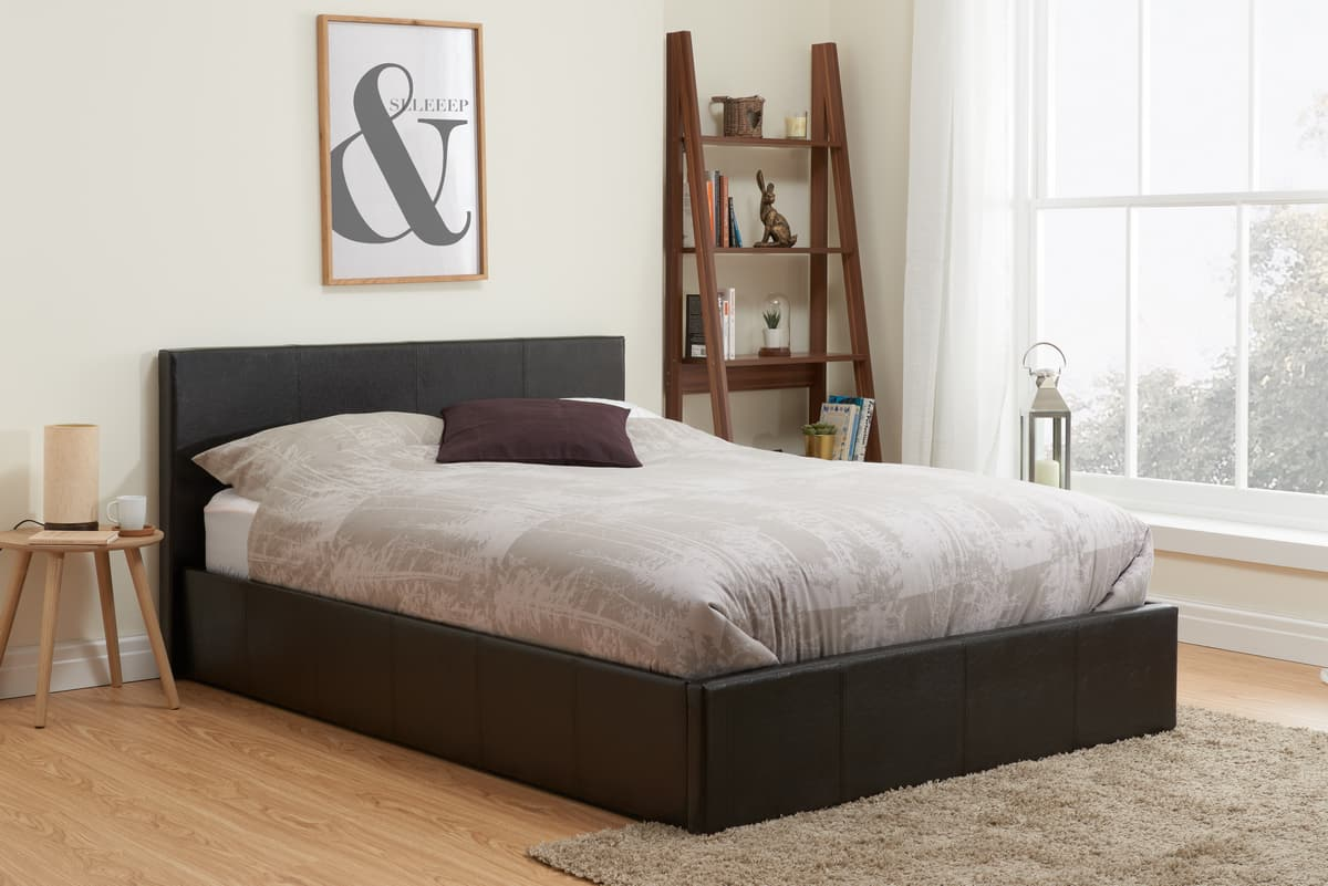 Berlin Brown Faux Leather 3ft Single Ottoman Bed
