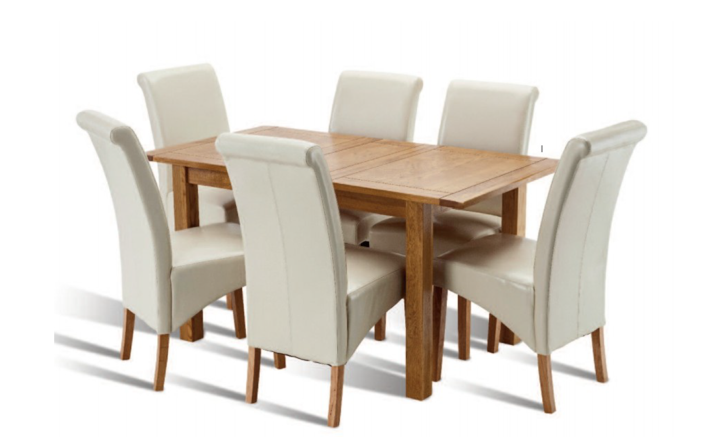 Bradbury 1.25m Ext. Honey Oak Dining Table With 4 Henley