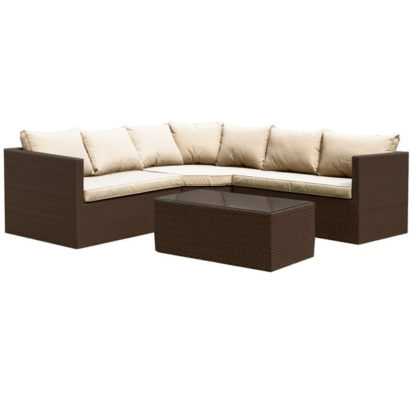 Royalcraft Cannes Brown Rattan 4pc Large Corner Sofa Set with Coffee Table