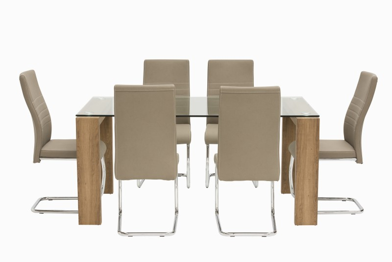 Casa Oak Glass 130cm Rectangular Dining Table With 6 Casa Taupe Leather Dining Chairs