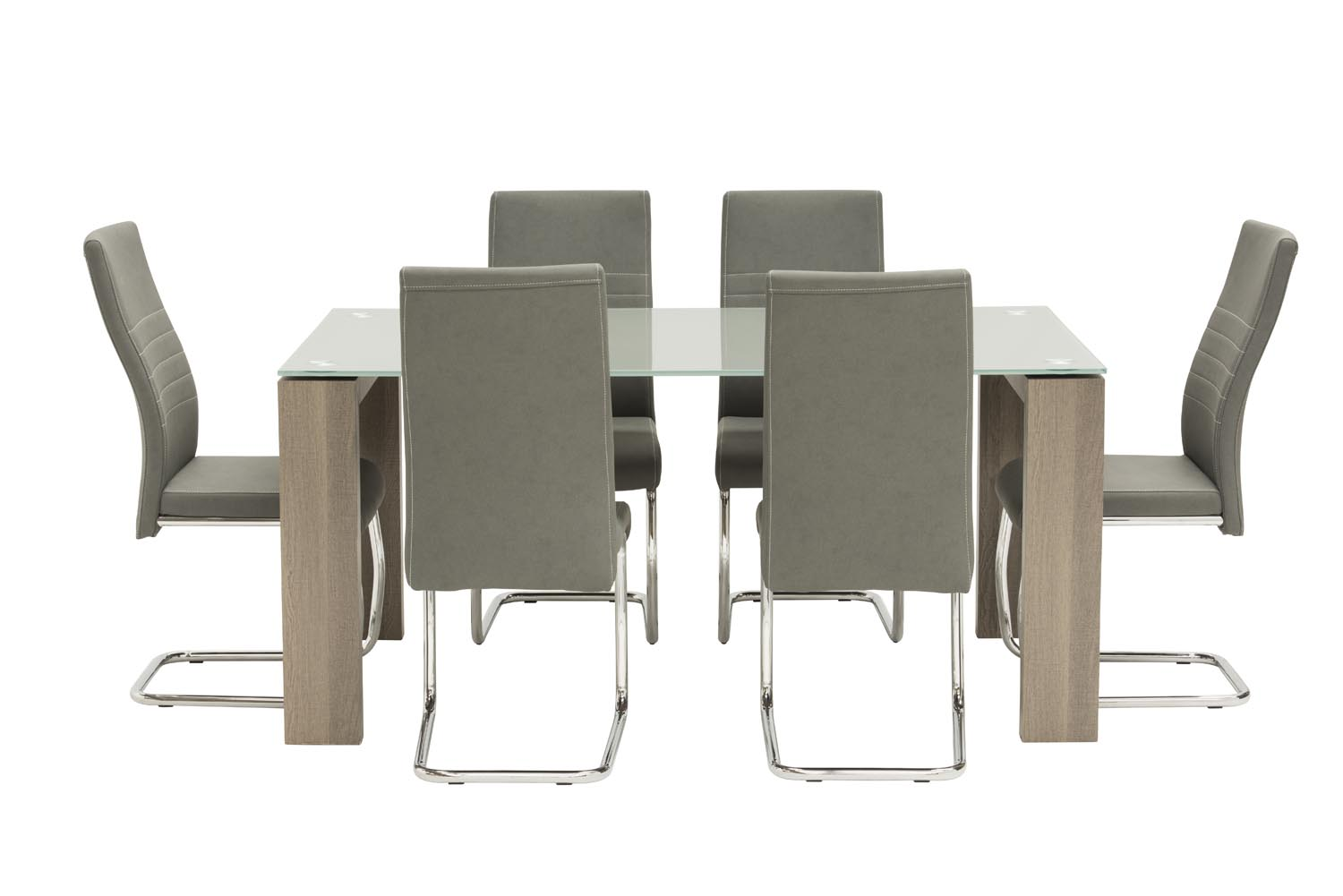 Casa Grey Glass 160cm Rectangular Dining Table With 6 Casa Grey Leather Dining Chairs