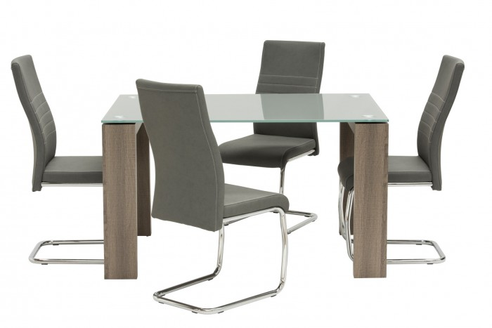 Casa Grey Glass 130cm Rect Dining Table with 4 Taupe Chairs