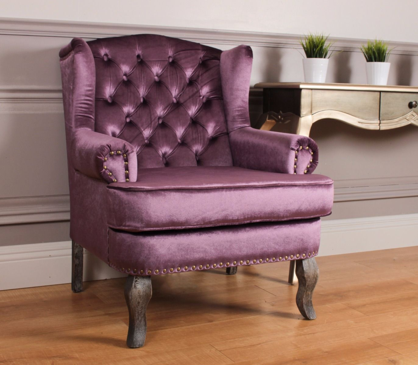 Wingback Violet Fabric Armchair