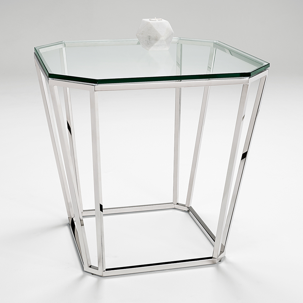 Chelsom Barion Clear Glass Lamp Table