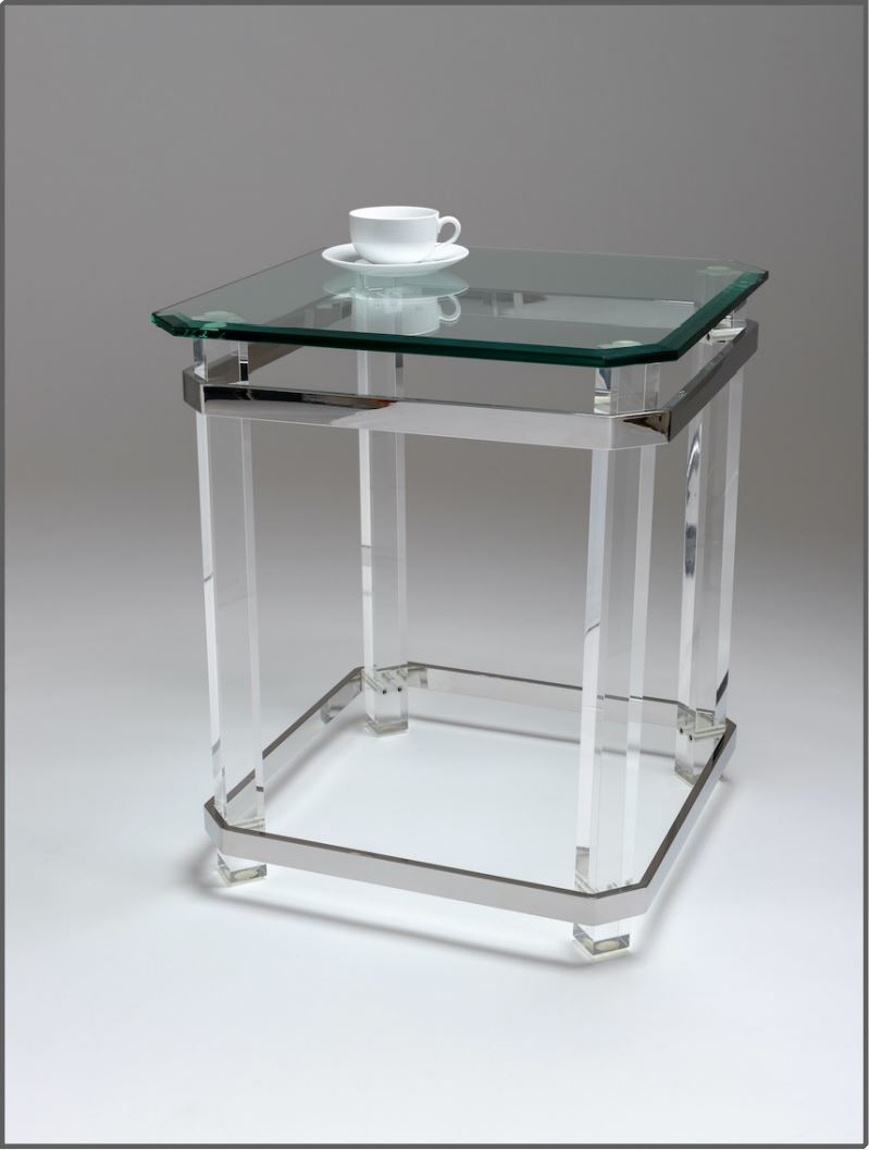 Chelsom Beaumont Glass Square Lamp Table