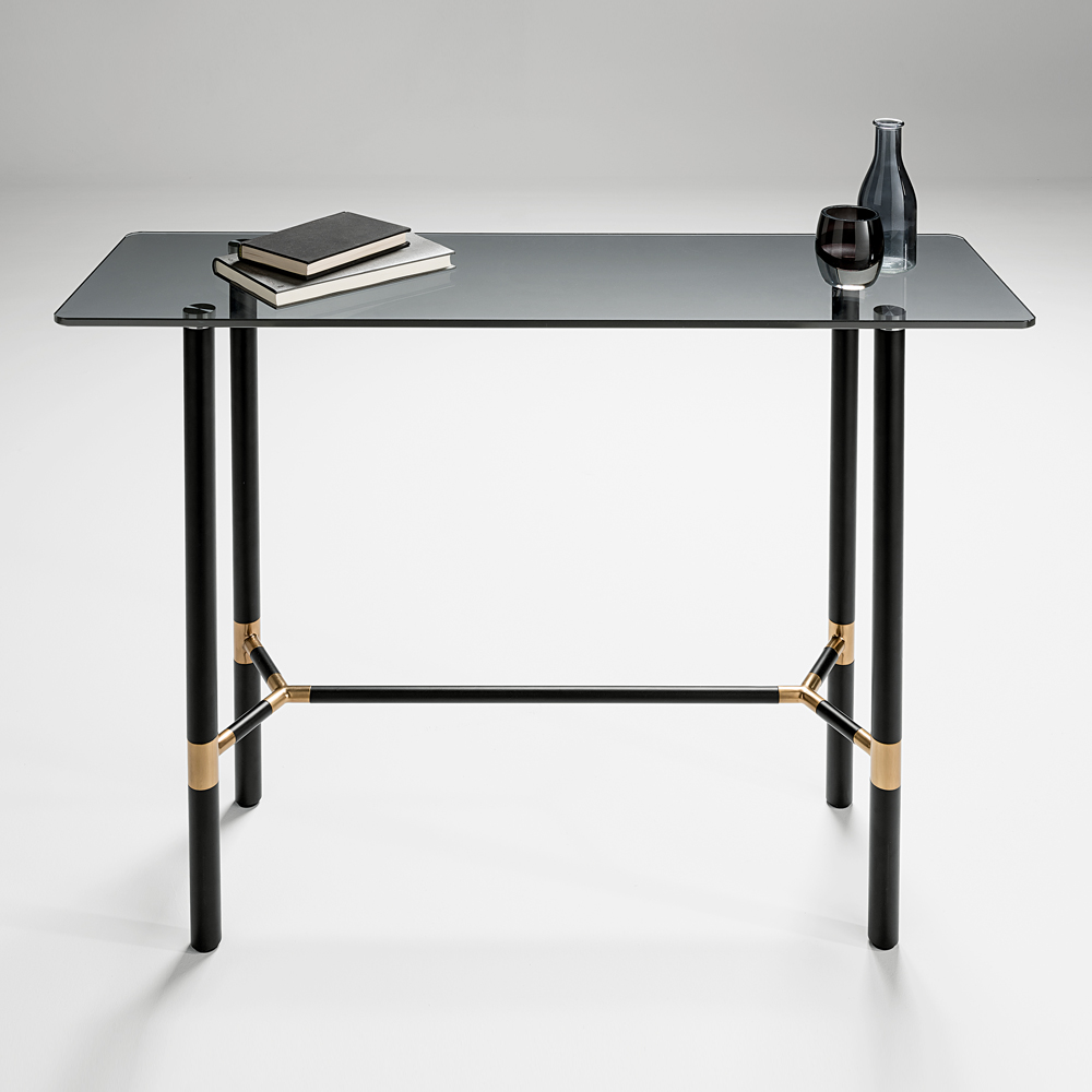 Chelsom Columbia Black Glass Console Table