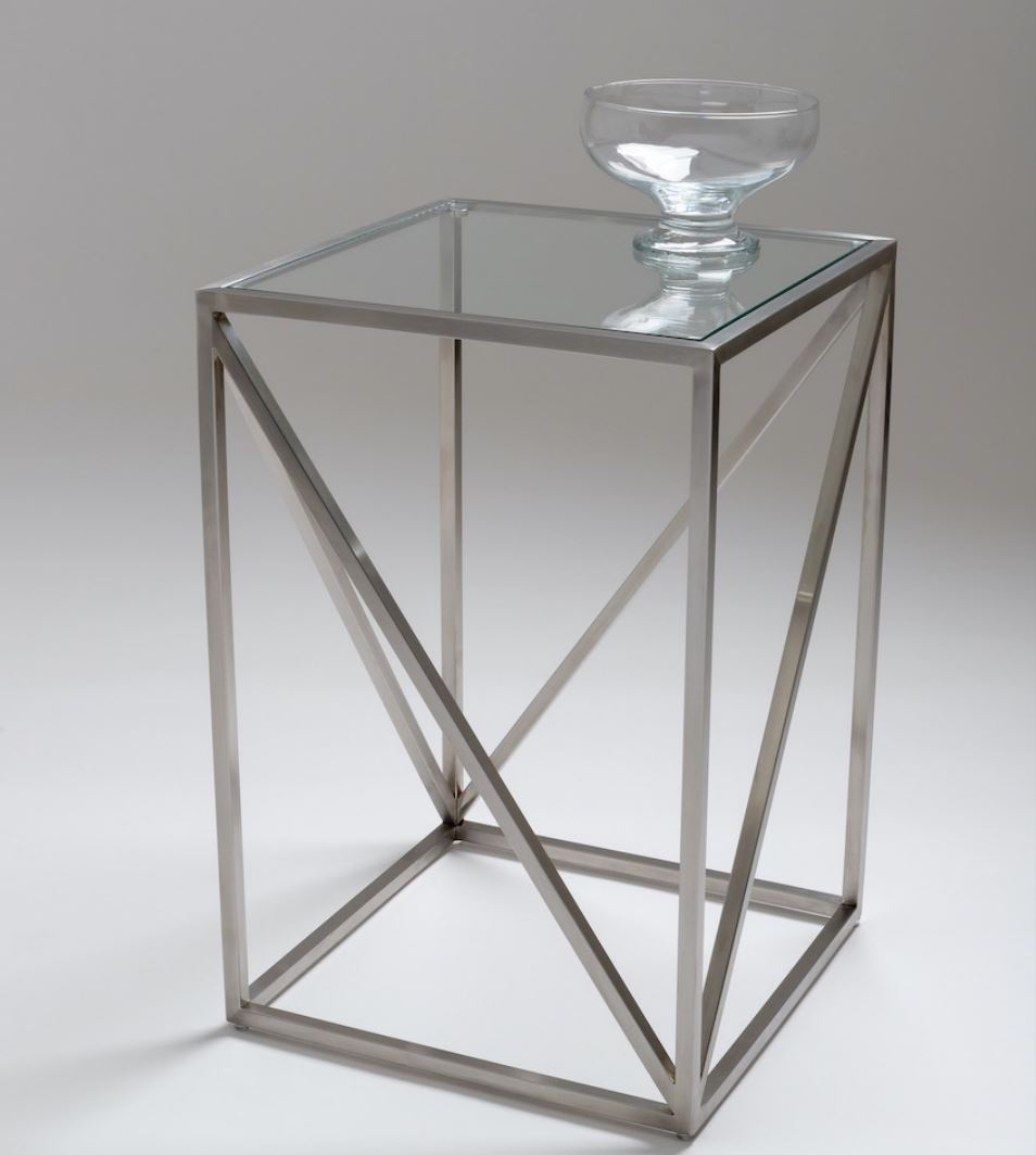 Chelsom Linea Clear Glass Square Lamp Table