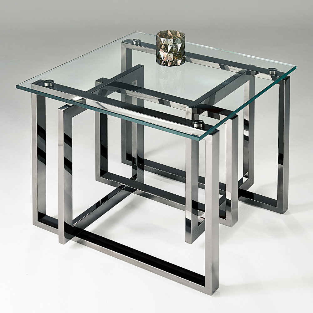 Chelsom Mondrian Square Black Platinum Clear Glass Lamp Table