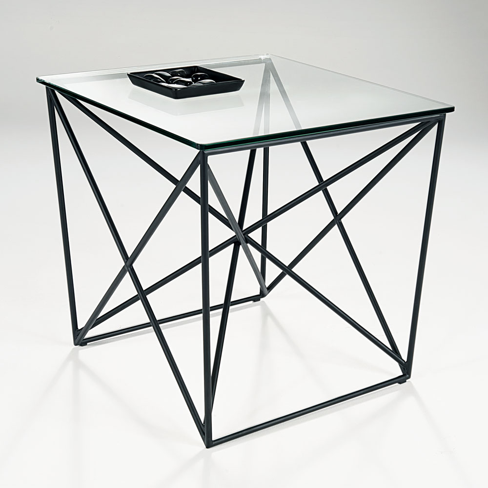 Chelsom Parker Square Black Metal Clear Glass Lamp Table