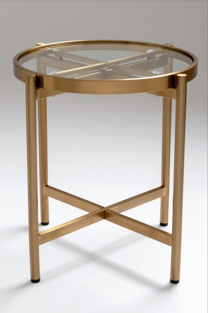 Chelsom Sentinel Clear Glass Round Lamp Table
