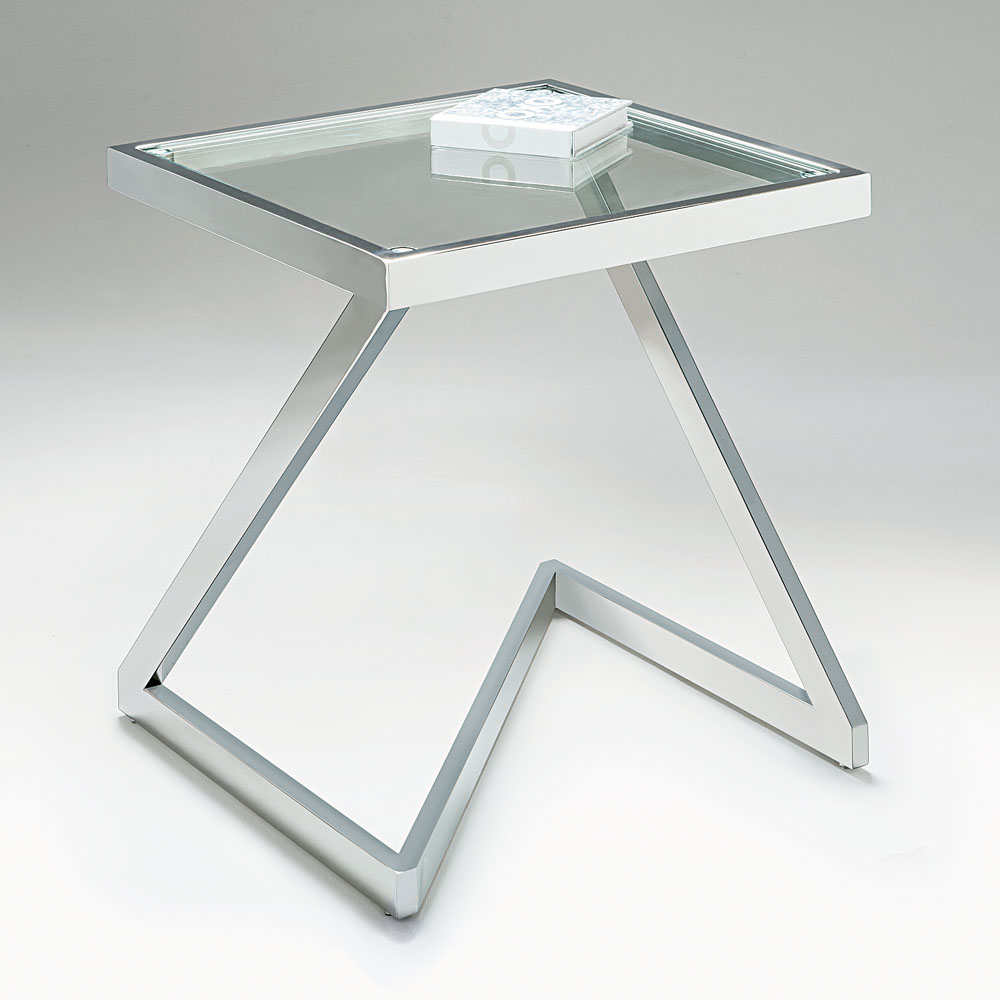 Chelsom Storm Clear Glass Square Lamp Table
