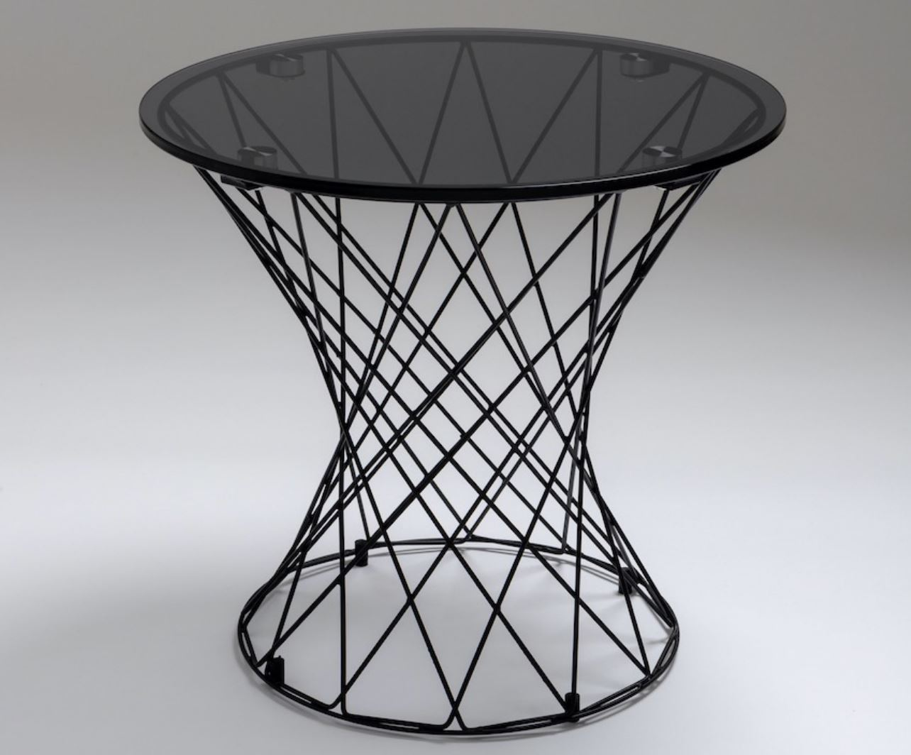 Chelsom Tella Smoked Glass Round Lamp Table