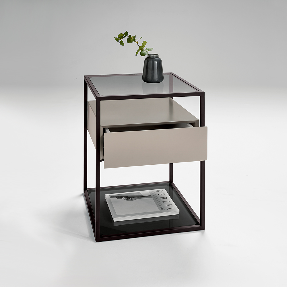 Chelsom Tribeca Black Glass Square Lamp Table with One Drawer